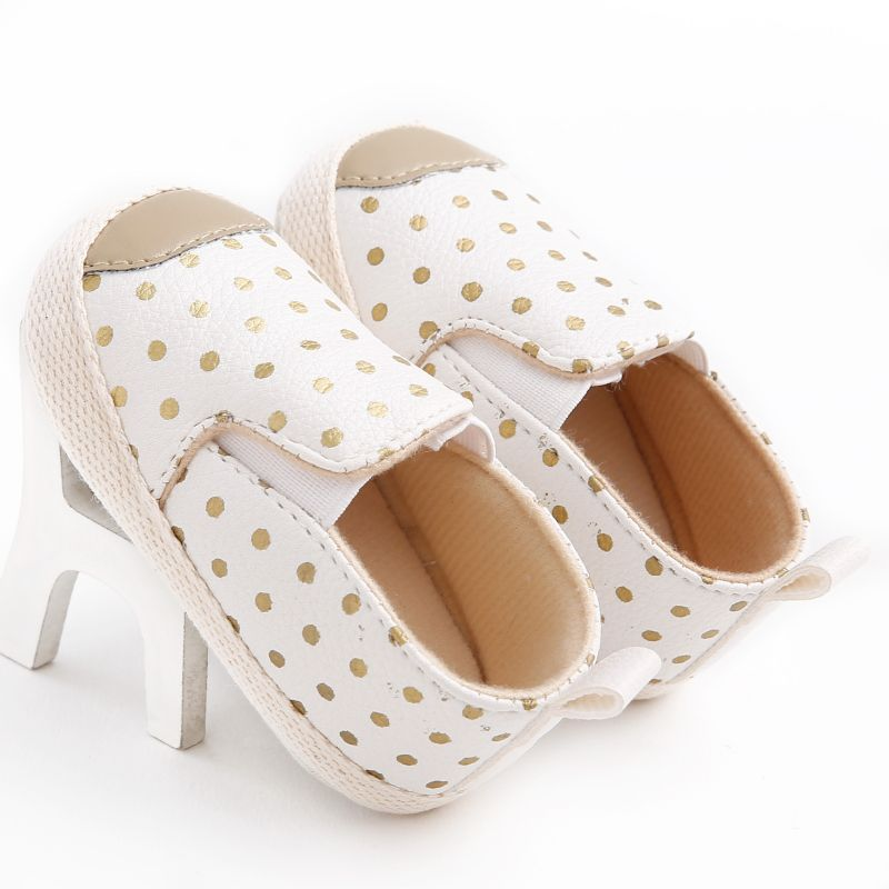 PU Leather Infant Toddler Polka Dots Crib Bebe Uni Kids Children Prewalker Shoes Newborn First Walkers Autumn 0-1 Years