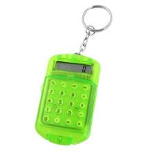 GTFS-Hot Sale Clear Green Plastic 8 Digits LCD Display Mini Calculator w Keyring
