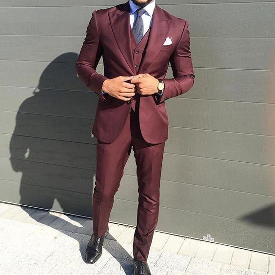 2017 italian style burgundy mens wedding prom dinner suits for Black suit burgundy shirt