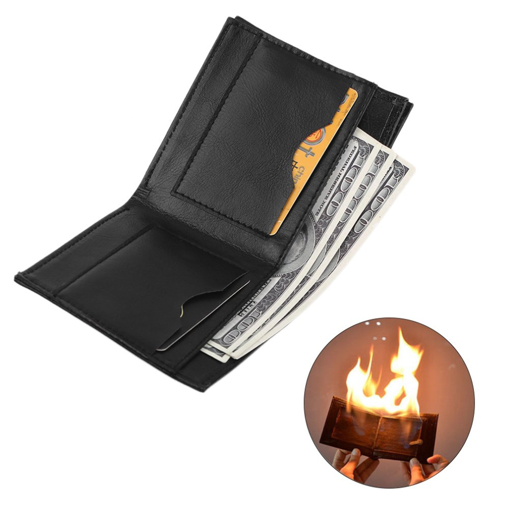 Hot ! Novelty Magic Trick Flame Fire Wallet Big Flame Magician Trick Wallet Stage Street Show Fashion Rubber Bifold Wallet