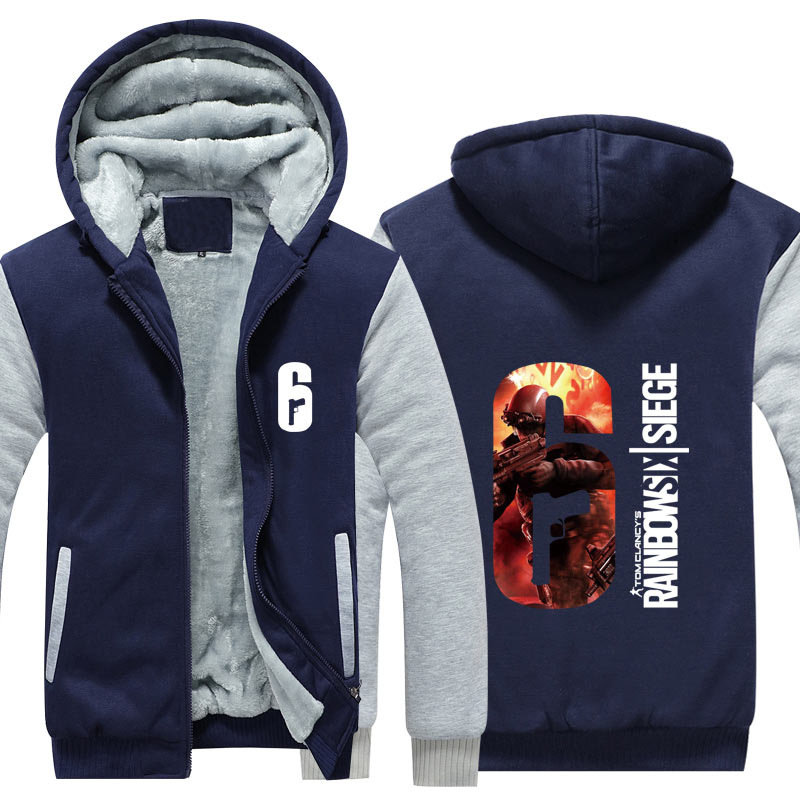 7c3b9675f US $27.89 49% OFF|Dropshiping Winter Rainbow Six Siege Jacket Baseball  Unisex Wool Liner Fleece Hoodie Thick zipper Sweatshirt For Men Women  Tops-in ...