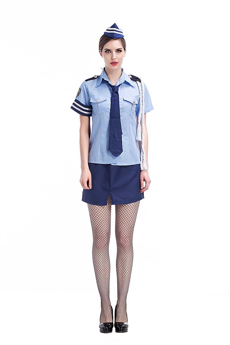 5d34cf08213a Adult Women Police Sexy Costume Idea Fancy Cops Cosplay School Girls  Uniform Hot Shirt Skirt Clothing