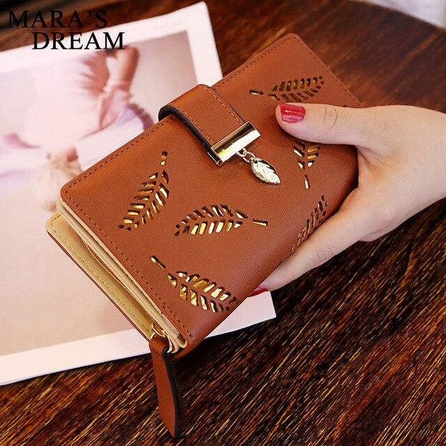 Mara's Dream 2019 Leaves Hollow Women's Wallet Soft PU Leather Women Bag Wallet Handbag Designer Wallets Coin Card Purse 4