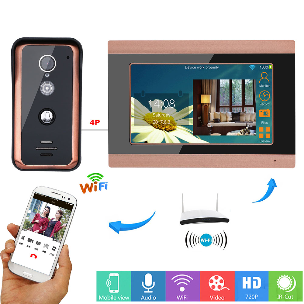 MOUNTAINONE 7inch Wifi Wireless Video Doorbell Intercom Entry System with HD 1000TVL Wired Camera picture record