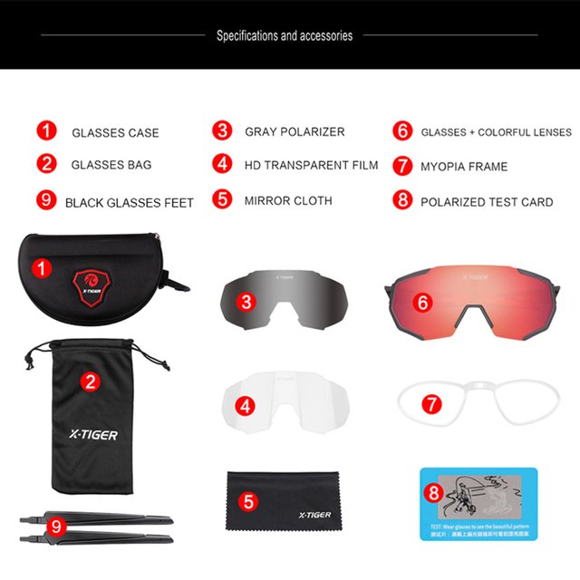 Óculos polarizados para ciclismo uv400, óculos de sol esportivo masculino para corrida e ciclismo de montanha, estrada, mtb, X-TIGER 2