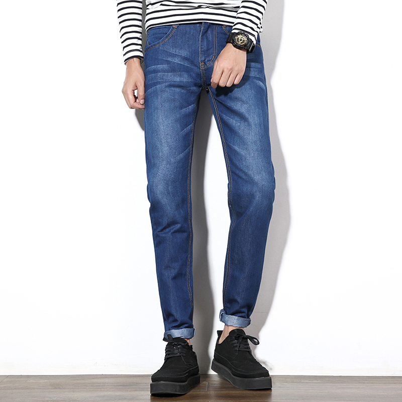 Men Jeans 2016 New Fashion Men Casual Jeans Slim Straight Pants Autumn Loose Waist Long Leisure Trousers Cotton Denim Pants 35mm ncctec core drill magnetic base drills nmd35c 1 4 14kg net weight 1200w