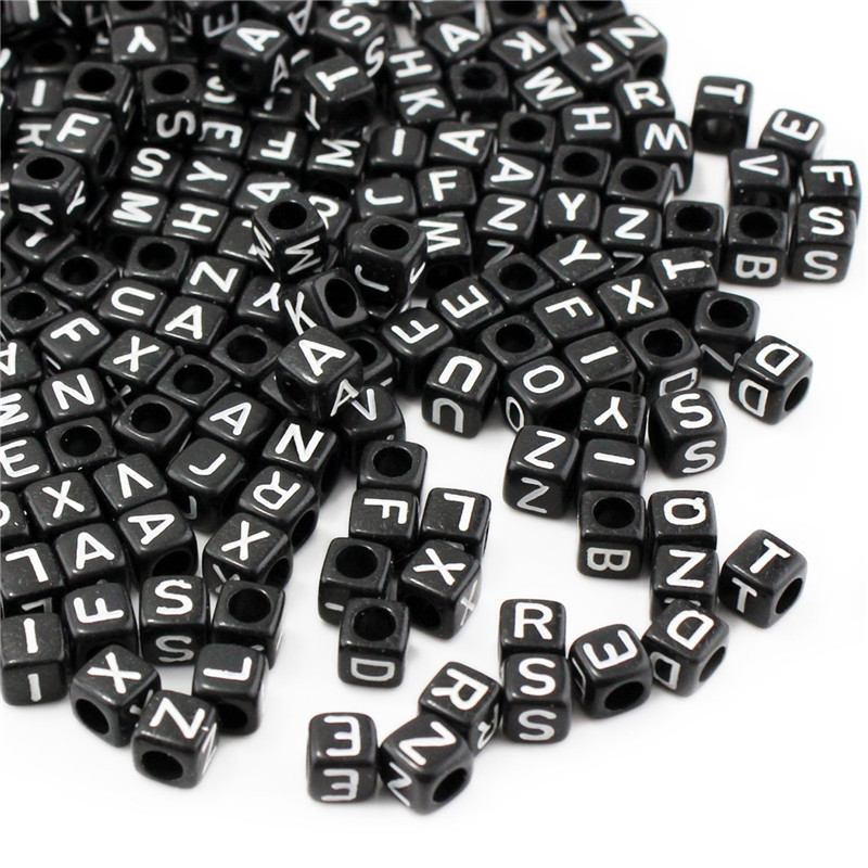 Black DIY 6mm Alphabet A-Z Cubic Letter Beads Acrylic Spacer Beads 500pcs Bead For Loom Band Bracelet Jewelry Findings Making