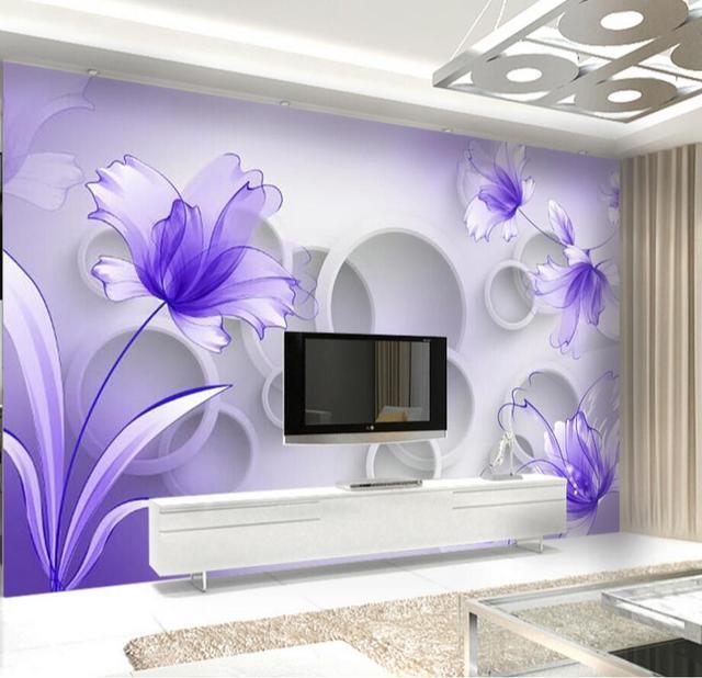 Fleur Pourpre Papier Peint 3d Papier Peint Pour Salon Tv Fond Mur