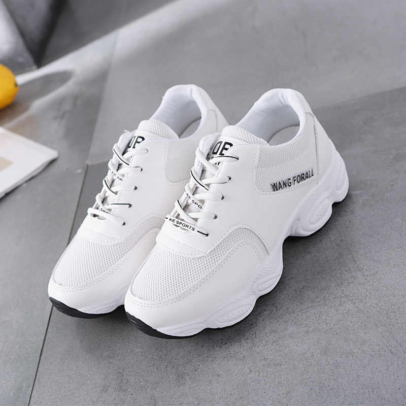 4531b30296f ... Fashion Lady Casual White Shoes Women Sneaker Black Leisure Thick Soled  Shoes Flats Cross-tied ...