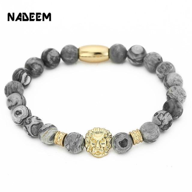 NADEEM Fashion Masculinas Natural Marble Stone Lion Head Bracelet Women Pulseras Hombre Bracciali Men's Elastic Bead Bracelet