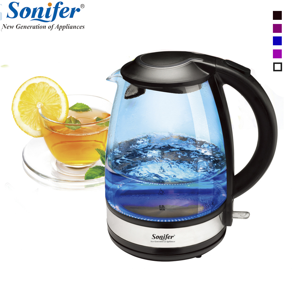 1.7L Colorful Electric Kettle Glass 2200W Household Quick Heating Electric Boiling Pot Sonifer 1 7l original colorful electric kettle glass 2200w household quick heating electric boiling pot sonifer