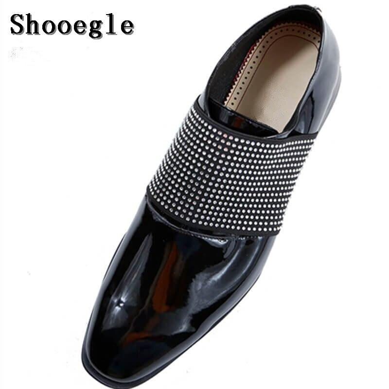 Mocasines Cuero Calidad Slip Boda on Hombres gold Oxfords Rhinestone Pic Patente eu46 as Eu39 De Shooegle Negro Zapatos Alta Nuevos Negro Yq7v8v