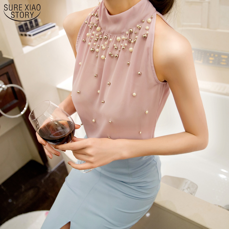 2017 New Women Beading Shirt Korean Fashion Sleeveless