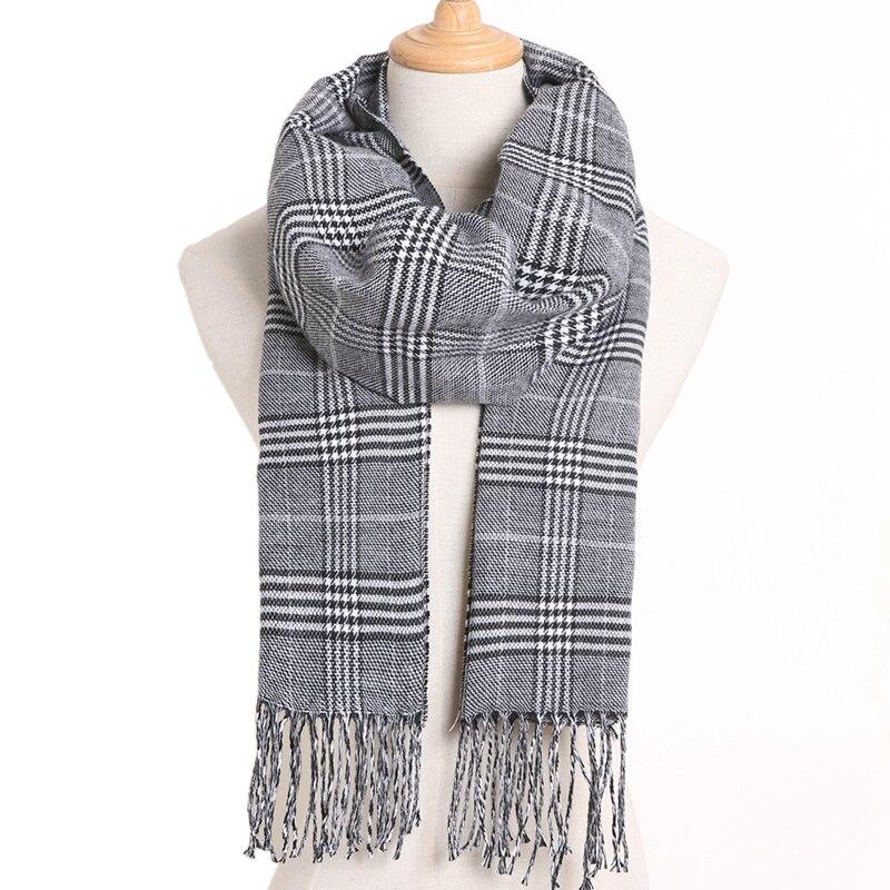 [VIANOSI] клетчатый зимний шарф женский тёплый платок одноцветные шарфы модные шарфы на каждый день кашемировые шарфы - Цвет: 33