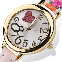 2016 New Product Women Sweet Heart Watches Large Arabic Numerals Floral Strap Quartz Wrist Watch