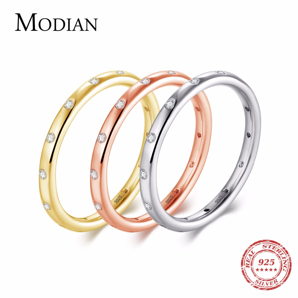 Modian New Style Solid 925 Sterling Silver Simple Fashion Wedding Engagement Finger Ring Jewelry Stackable Classic For Women simple style solid color hollow out spiral ring for women