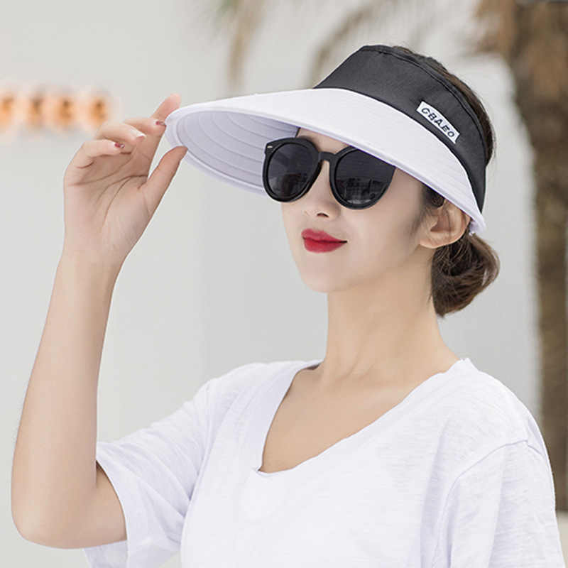 853d11b2172 ... Sun Hat Summer Empty Top Hats Fashion Visors Women Foldable Wide Brim  With Outdoor Travel UV
