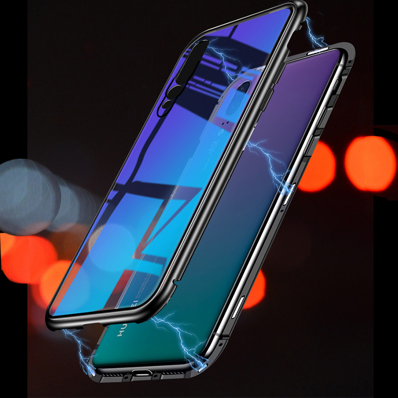 material- Magnetic-Adsorption-Case-For-Huawei-P20-P20-Pro-Clear-Tempered-Glass-Back-Cover-Metal-Frame-Magnet