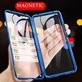 360 магнитный адсорбционный металлический корпус чехол на для Xiaomi mi 9 прозрачный противоударный передний задний закаленный стеклянный чехол...
