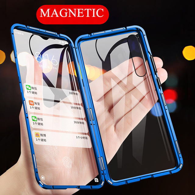 360 Magnetic Adsorption Metal Case for Xiaomi mi 9 Transparent Shockproof Tempered Glass Cover for Xiaomi mi 9 se mi 9t Case