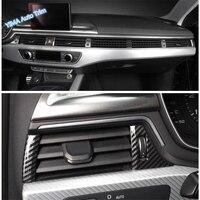 Lapetus 7Pcs Air Conditioning AC Outlet Vent Cover Trim Fit For Audi A4 B9 2017 2018 2019 Carbon Fiber Look Interior