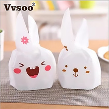 New Year 10pcs Cute Bunny Cookies Bag Rabbit Ear Plastic Candy Gift Bag Box Easter Wedding Decoration Bridal Party Supplies