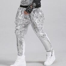 27-38 New 2017 Men's clothing fashion hair stylist Sequins harem pants singer stage PLUS SIZE costumes