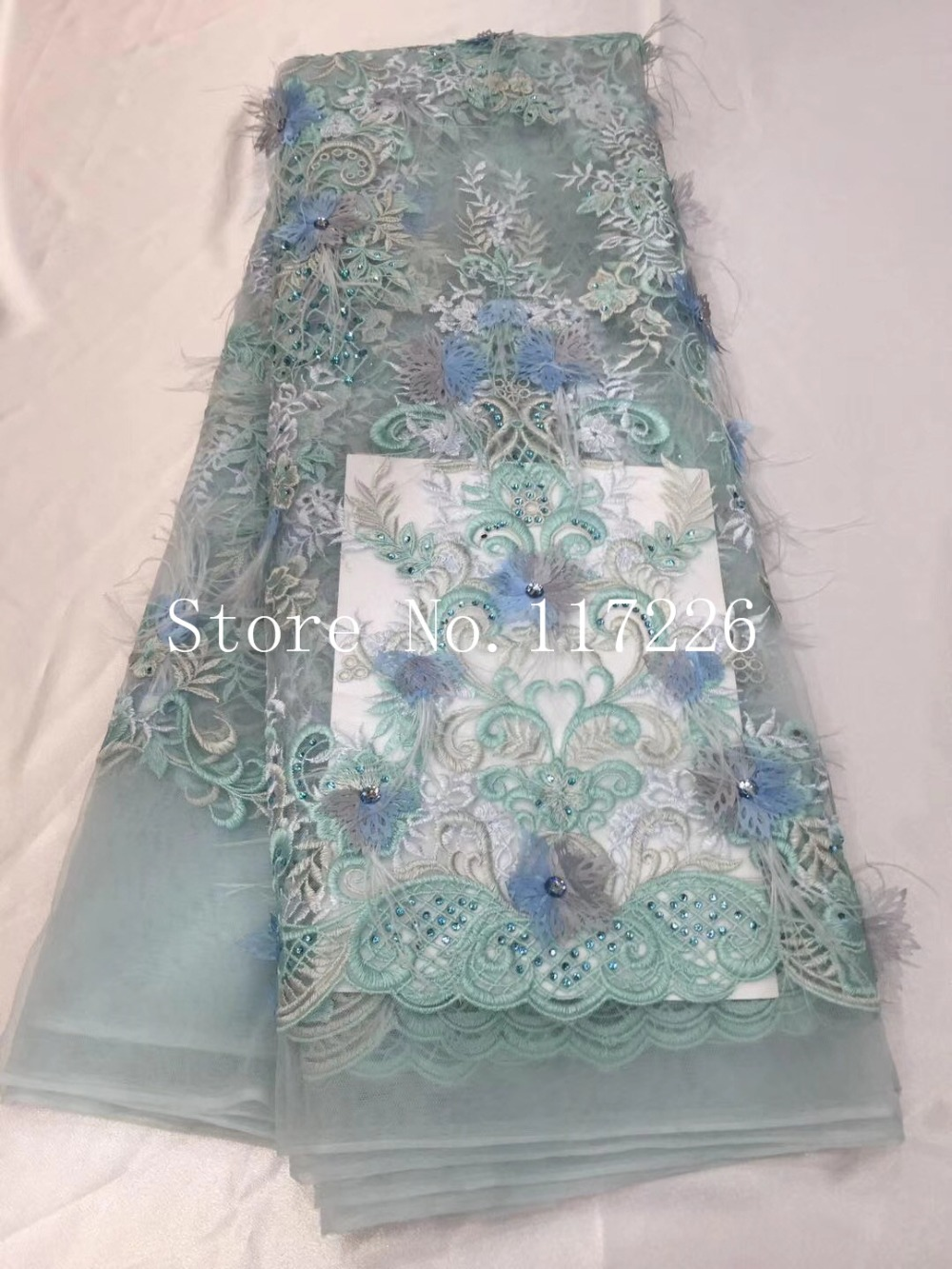 Gordeous African French lace fabric 3d flower feathers tulle fabric with stones big guipure lace JRB 17007