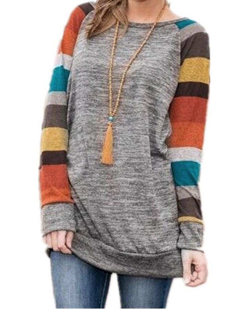 2018 New Arrivals Spring Women's Colorful Stripes Raglan Long Sleeve Loose Knit Cotton Tunic T-shirt Crew Neck Casual Fit Tops