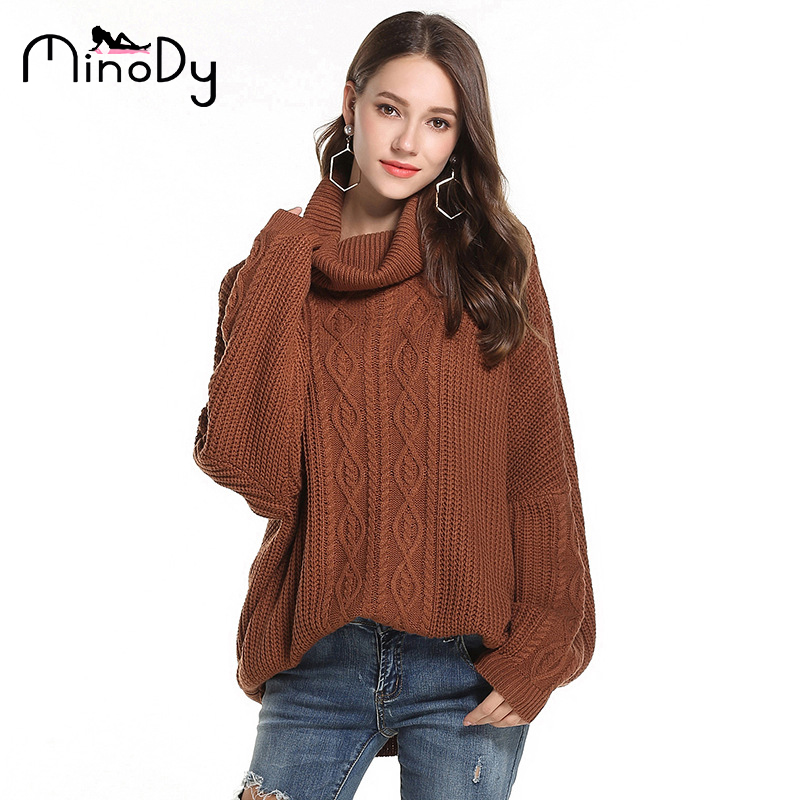 8dec6234782 MINODY Turtleneck Sweater Knitted Casual Loose Pullovers Regular Solid  Fashion Thick Knitted Sweater 2018 Autumn Winter