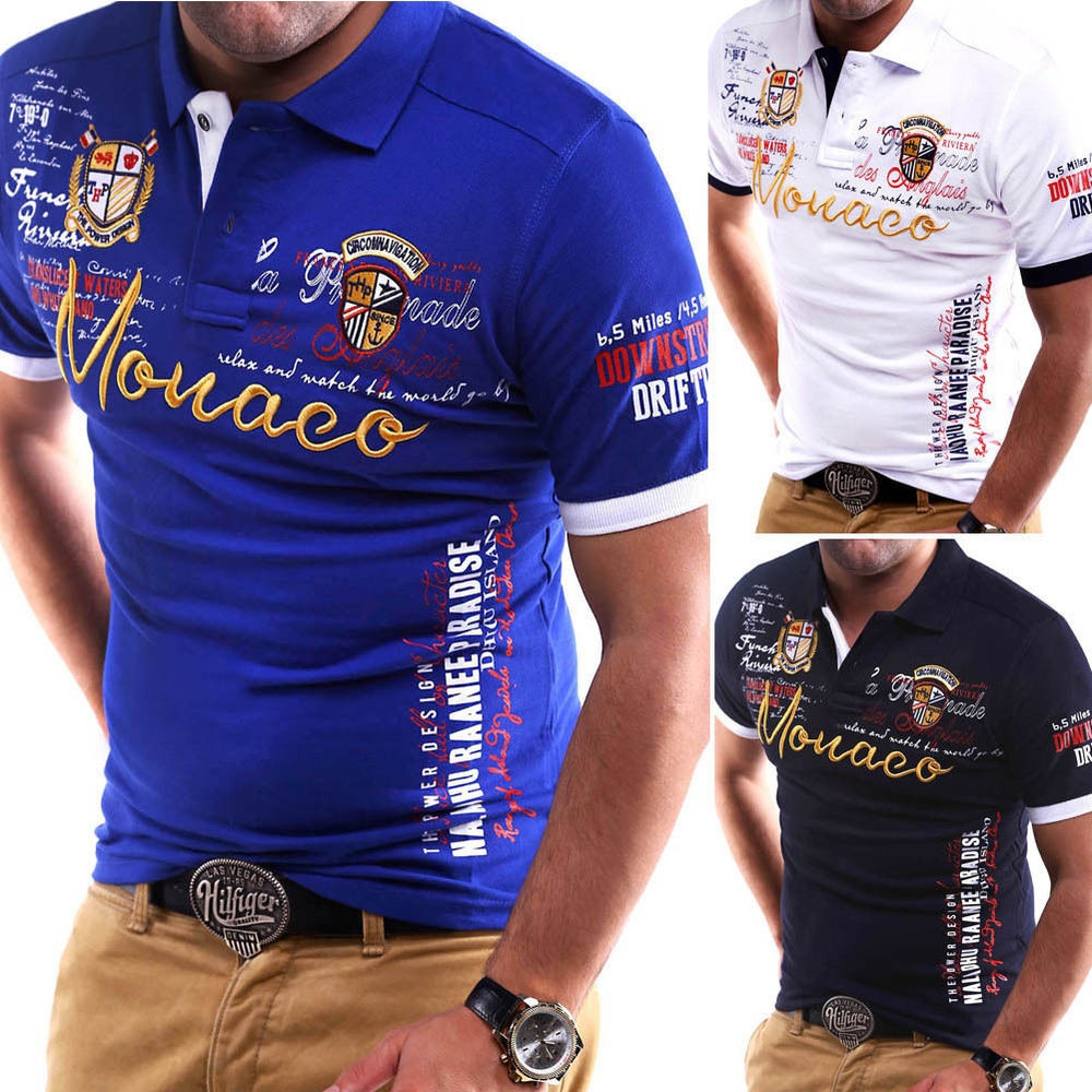New Men's   Polo   Shirt Slim Fit Shirt Short Sleeve