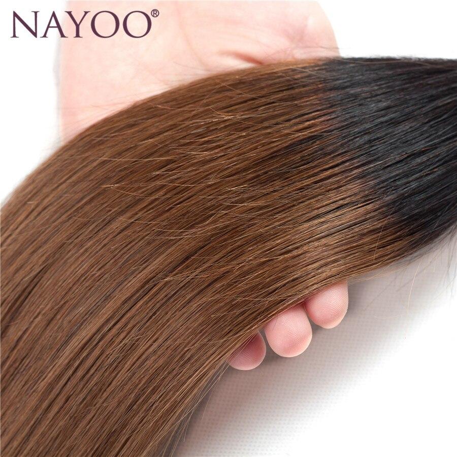 NAYOO Ombre Peruvian Straight Färgade Non-Remy Human Hair Weave - Mänskligt hår (svart) - Foto 4