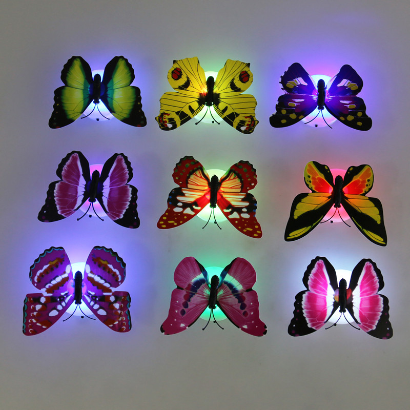 Jiaderui 5pcs Lovely Butterfly LED Home Decorations Night Light Color Changing Baby Bedroom Wall Decor Lamp Color Random On Sale