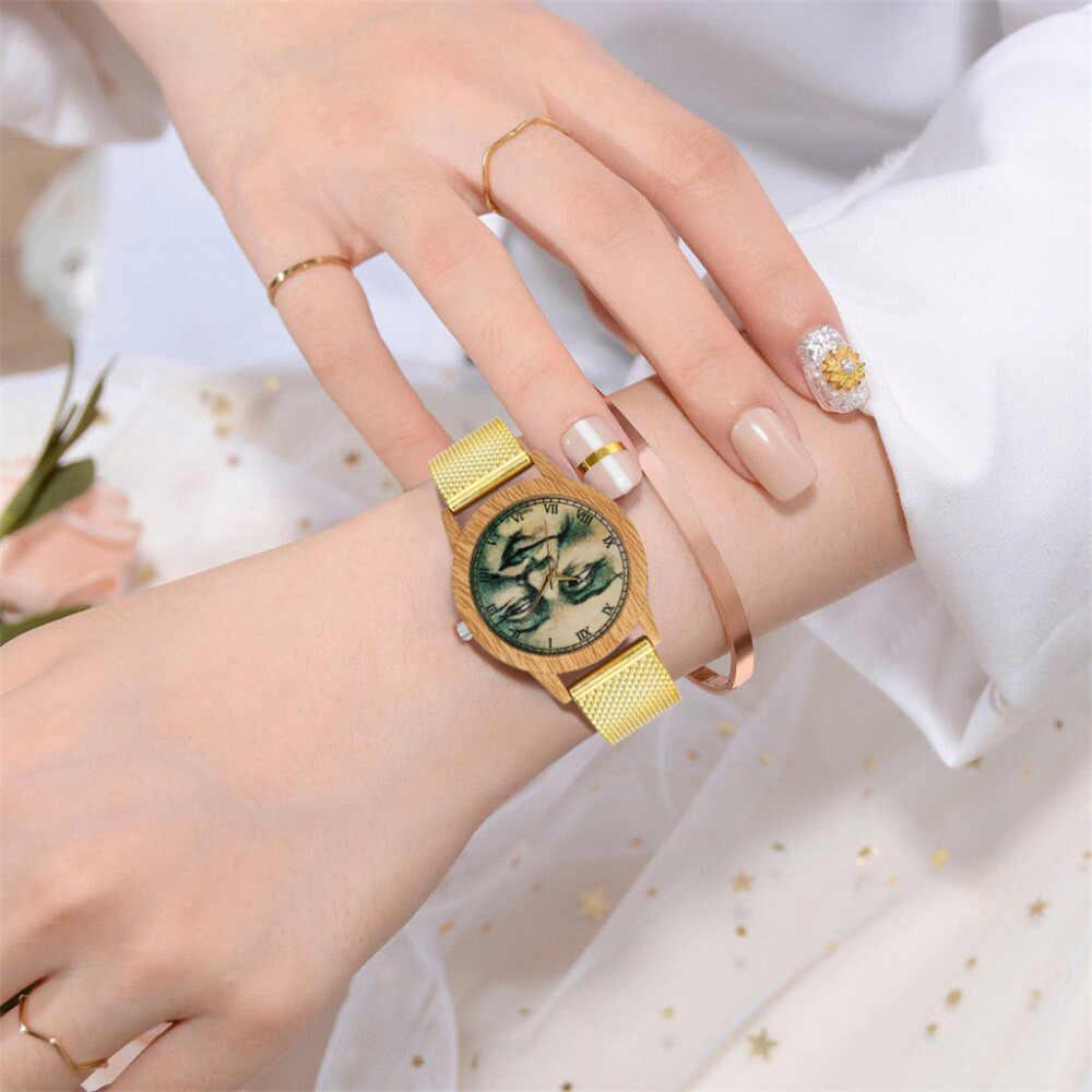 Reloj de pulsera de mujer de grano de madera a la moda con espejo de cristal con correa de silicona reloj de cuarzo nuevo reloj de mujer de cuero de gran venta A