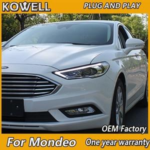 Image 1 - KOWELL Auto Styling für Ford Mondeo 2017 Scheinwerfer fusion LED Scheinwerfer DRL Hid Bi Xenon Strahl Linse Gerade Gelb drehen