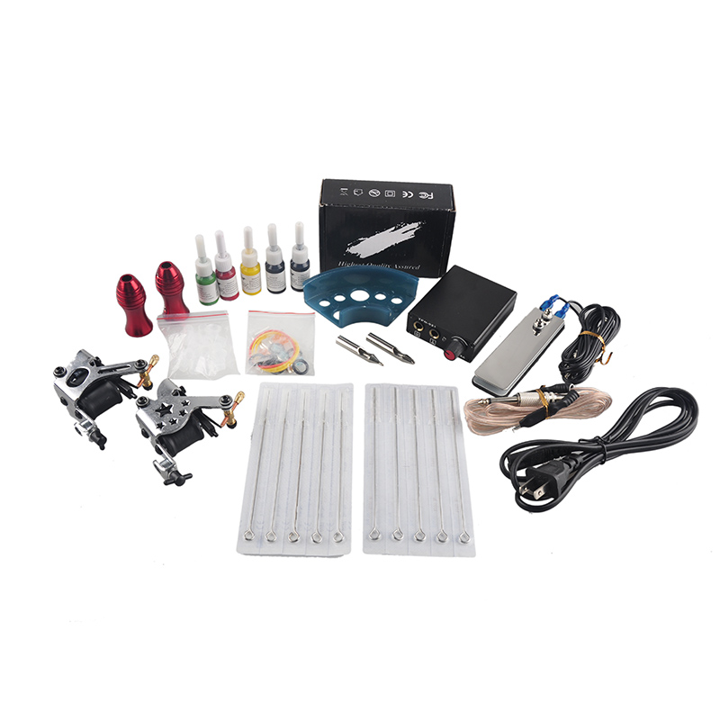 Hot sale Tattoo Kit Gun 2 Machines 5 Colors Inks Sets 10 Pieces Needles Power Supply Tips Grips beginner tattoo kit 1 machine gun 4 inks needles tattoo power supply d1025gd 2