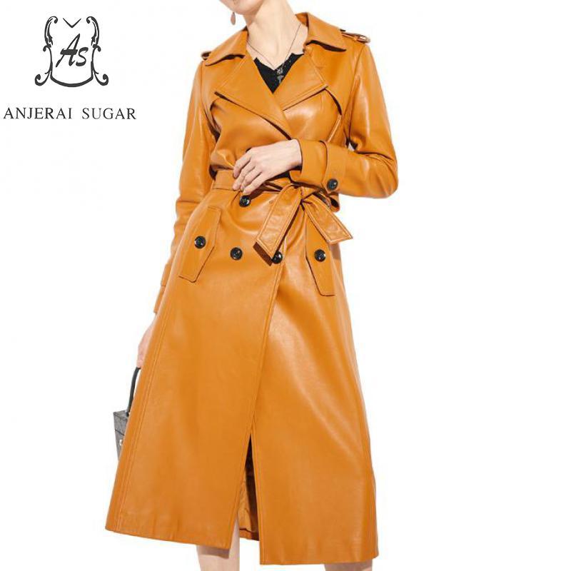 Hiver automne femmes en peau de mouton en cuir véritable veste col rabattu double boutonnage jaqueta couro feminina long coupe-vent manteau