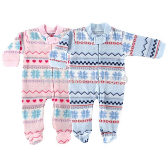 2016 Spring Baby Boy Girl Clothes Luvable Friends Baby Fleece Fabric Romper For Winter Long-sleeve Next Baby Product Baby Romper