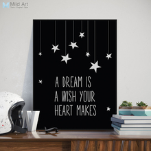 Black White Motivation Dream Quotes Larger Canvas Art Print Poster No Frame Wall Picture Modern Nordic Kids Room Decor Paintings