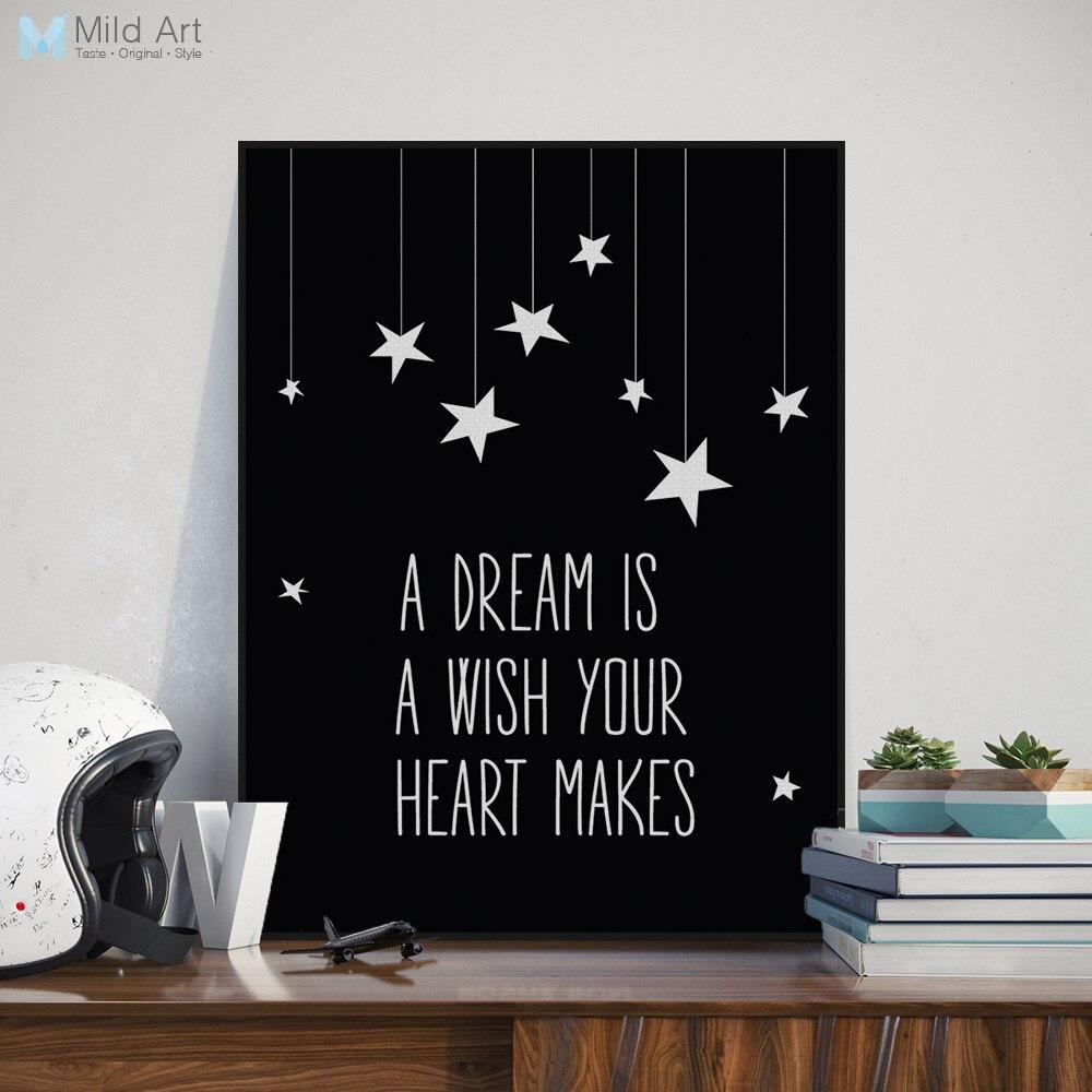 hitam putih motivasi dream quotes lebih besar kanvas seni cetak