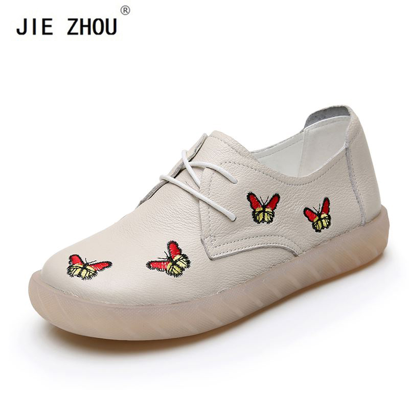 Genuine Leather Women Flats Lace Up Low Heel Women Casual Shoes Soft Bottom Retro Embroidery Leather Flats Handmade shoes woman