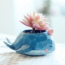 ФОТО cartoon mini crocodile whale resin flower pots elephant animals succulent plant pots bonsai planter home office decor