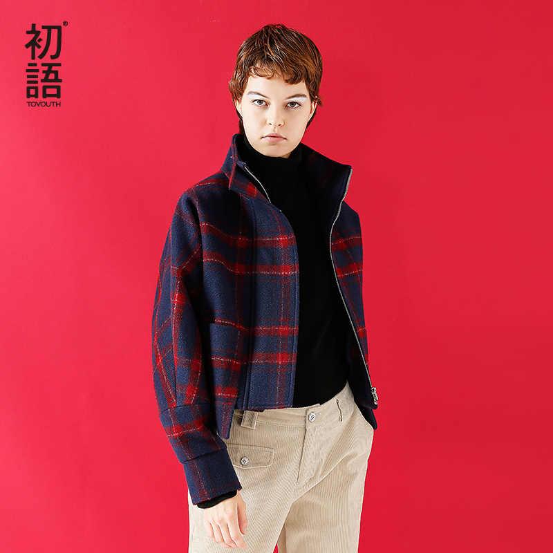 Toyouth Woollen Coat 2019 Winter Women Fashion Tartan Plaid Batwing Sleeve Short Style Casual Overcoat Female