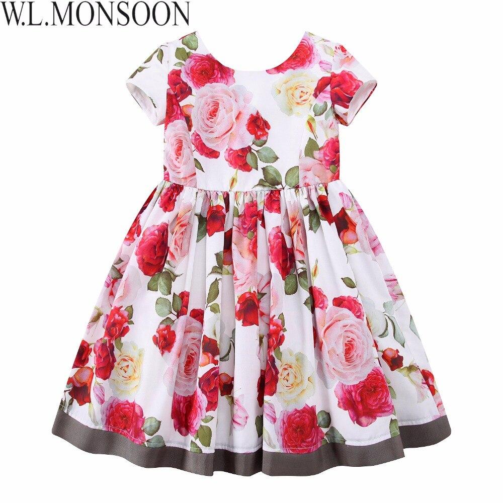 b16039c07b9 W.L.MONSOON Girls Floral Dress Summer 2017 Brand Reine Des Neiges Costume  Princess Dress with Bow Kids Dresses for Girls Clothes