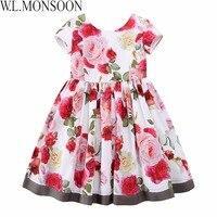 W.L.MONSOON Girls Floral Dress Summer 2017 Brand Reine Des Neiges Costume Princess Dress with Bow Kids Dresses for Girls Clothes