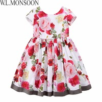 W L MONSOON Girls Floral Dress Summer 2017 Brand Reine Des Neiges Costume Princess Dress With