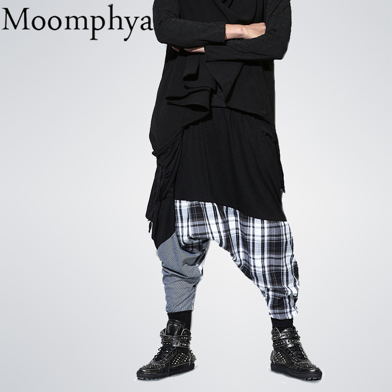 Moomphya Patchwork-Pants Street-Wear Jogger Elastic-Waist Plaid Dance-Baggy Fashion Hip-Hop
