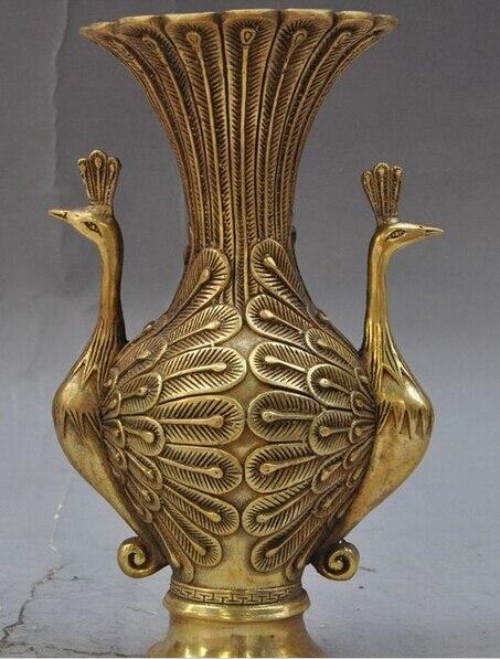 Zsr 10188 Chinese Fengshui Brass Animal Peacock Bird Statue