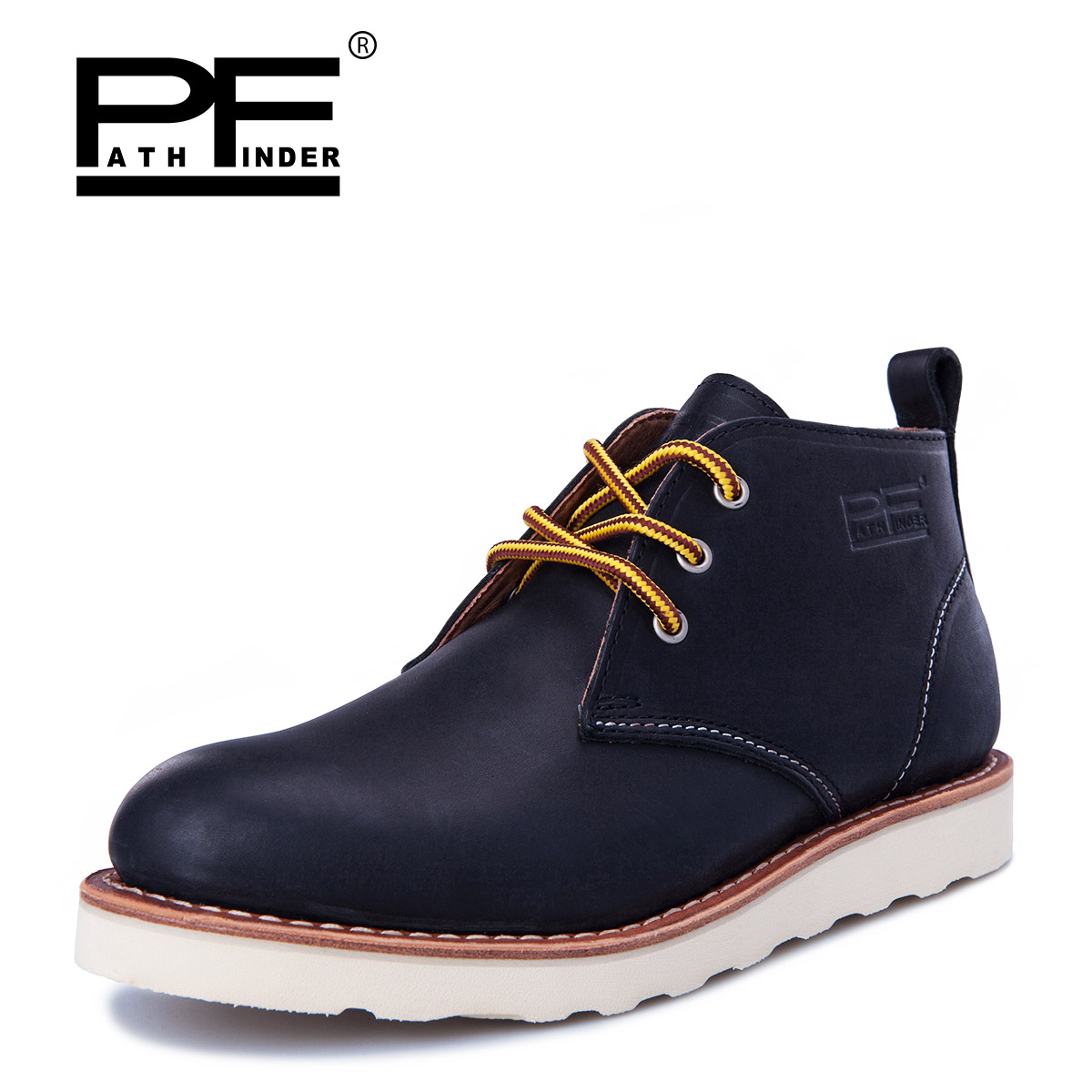 Pathfinder High Quality Lace Up Men Boots, Casual Winter Genuine Leather Boots, Big Size Fur Ankle Martins M Shoes 003 002118 01 003 120457 01 replacement projector bare lamp for christie lw400