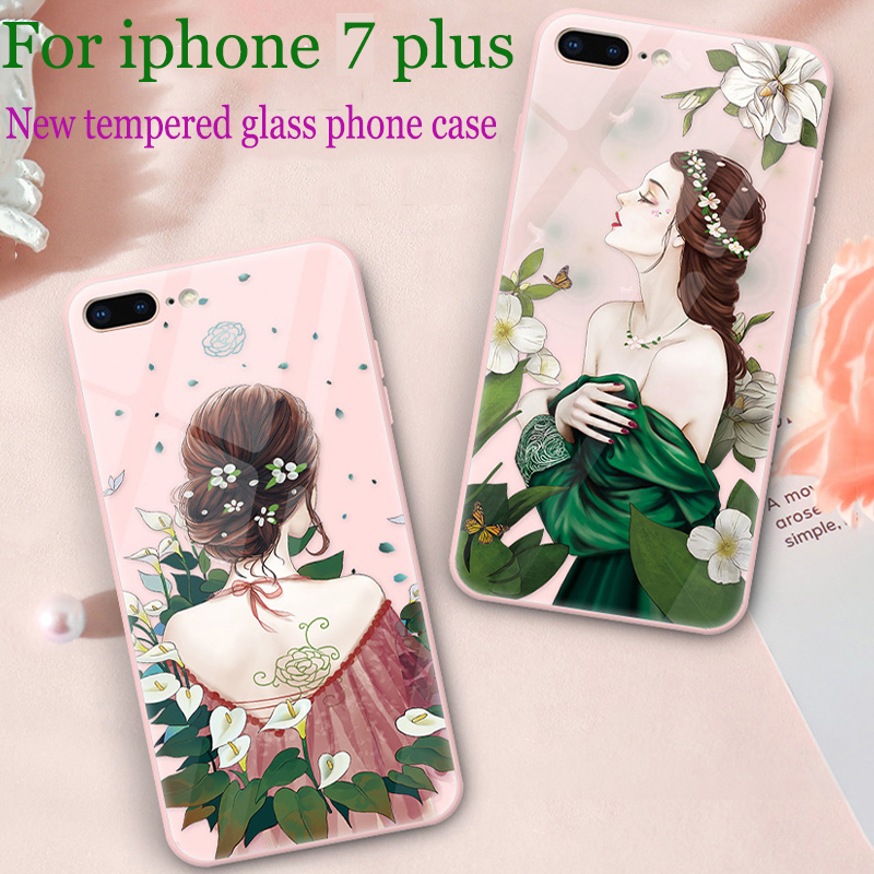 For iphone 7 plus case cover For iphone7 plus case tempered glass back cover For iphone 7plus phone cases iphone7plus shell skin